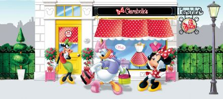 "Disney ""Minnie Mouse and Daisy"" Panoramic mural wallpaper 202x90cm"